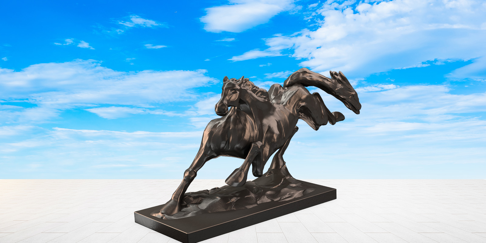 Courant Vert Spirit Bronze Sculpture Horse