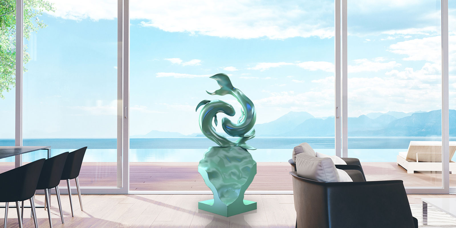 Courant Vert Bronze Sculptures - Harmony Yin Yang Fish